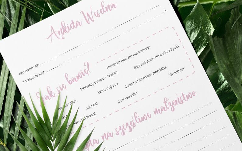 Ankieta weselna do pobrania za darmo